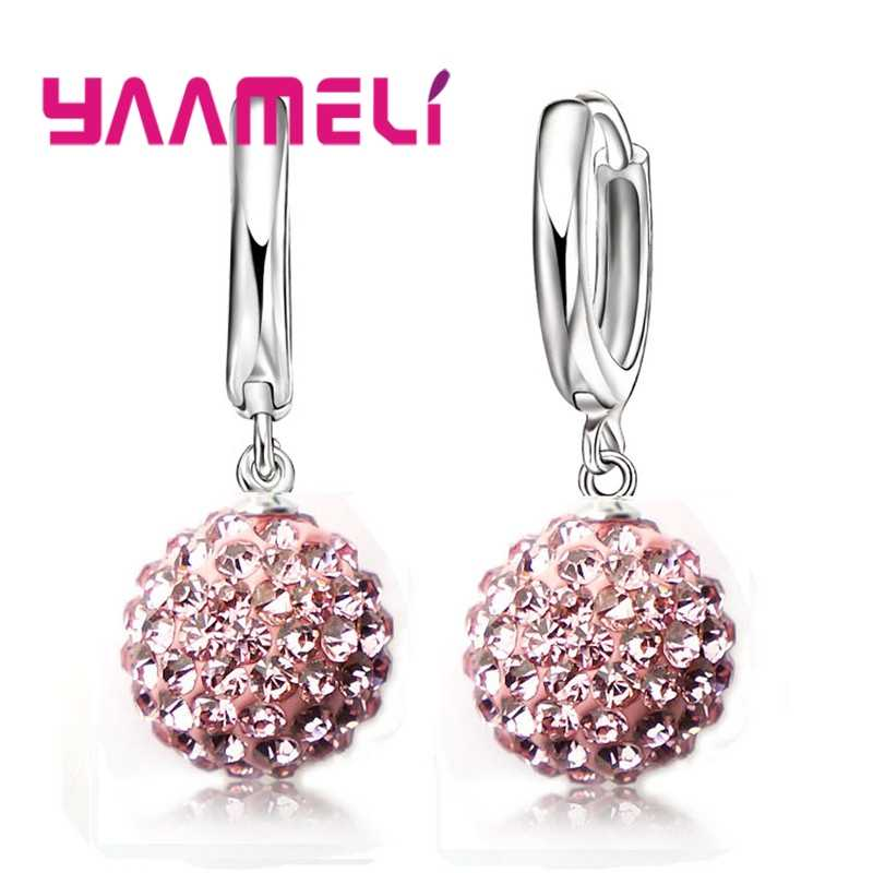Top Sale 925 Sterling Silver Shining Crystal Pave Disco Ball Hoop Earrings Jewelry wholesale Dropshipping Woman Jewelry