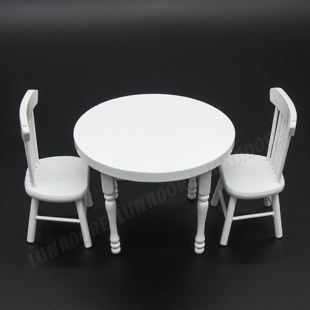 Odoria 1 12 miniature wood white dining table with two for White wooden kitchen chairs