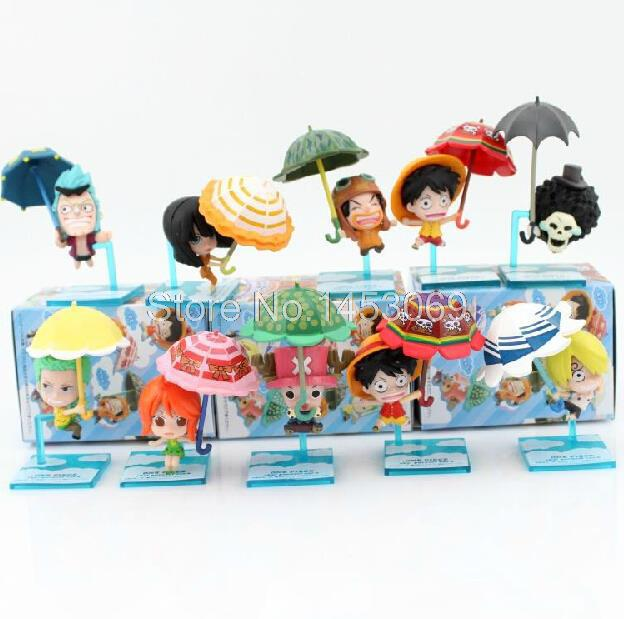 Free Shipping 10pcs/set Anime Catoon One Piece Action Figure Luffy Robin Nami Brook With Umbrella Collection Model Toy 8cm free shipping new japanese anime one piece pvc figure toy umbrella strawhat luffy tony tony chopper model doll 10pcs set
