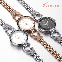 KIMIO Hollow Heart Love Diamond Bracelets For Women Watches 2017 Rose Gold Watch Fashion Women Quartz