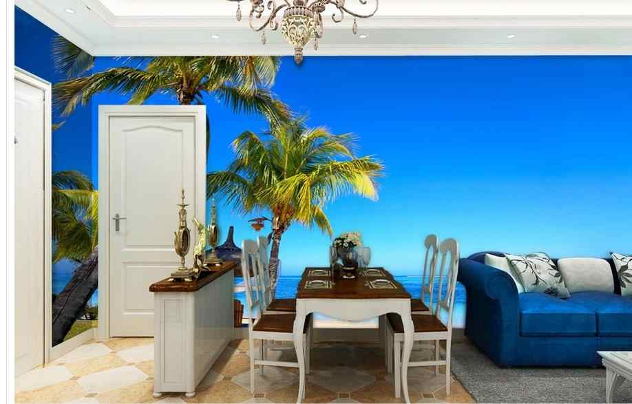 Custom Any Size Living Room Wallpaper 3D Painting Fresh and Beautiful Blue Mediterranean Coconut Palm Beach Home Improvement