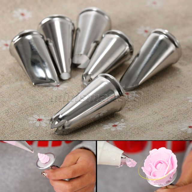 6 Unids/set Cake Icing Piping Boquillas Consejos Cupcake Sugarcraft ...
