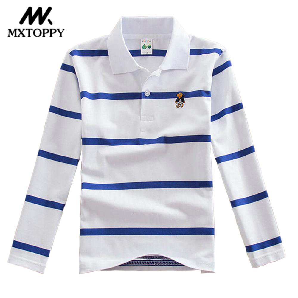 MXTOPPY Brand Boys Tops 2018 New Long Sleeve Striped T-Shirt For Boys Clothes Kid Boys T-Shirt lace panel long raglan sleeve striped t shirt