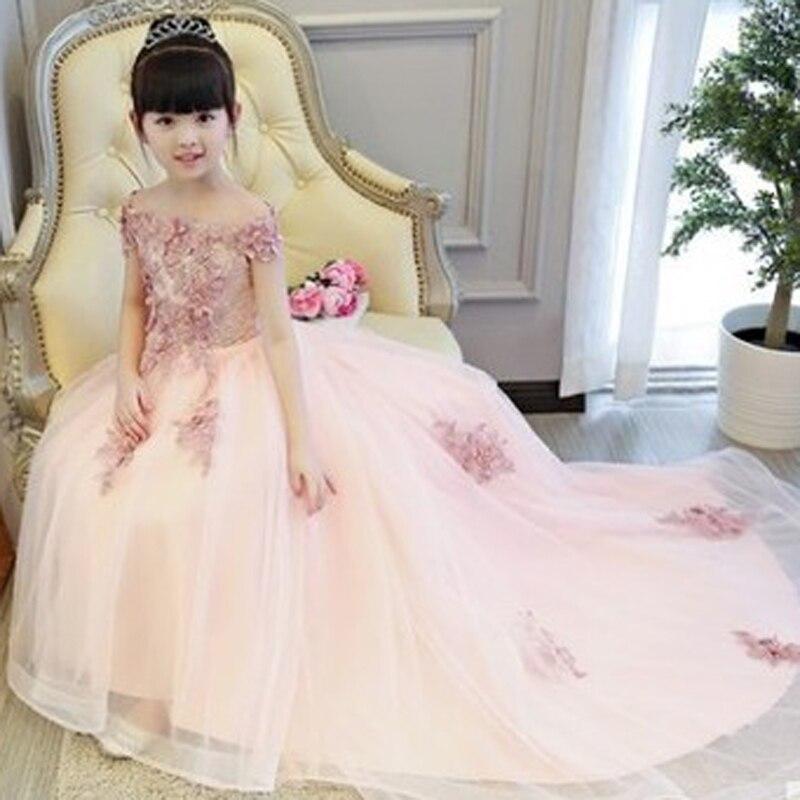 Girls Shoulderless Wedding Dress Long Trailing Party Tulle Princess Birthday Dress Christmas Gown First Communion Dresses E51 цена 2017