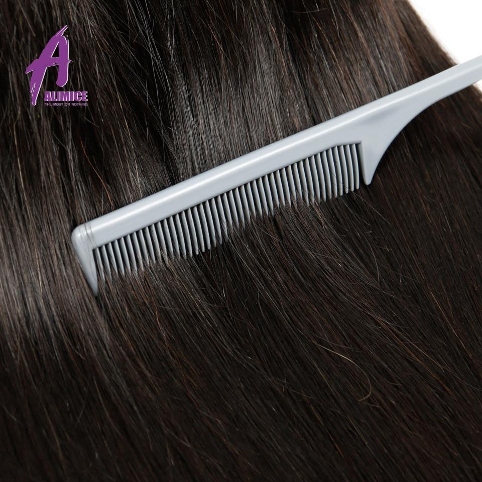 Alimice 인도 스트레이트 헤어 위브 100 % 인간의 - 인간의 머리카락 (검은 색) - 사진 4