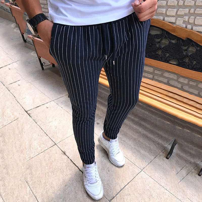 Trousers Pencil-Pants Drawstring Street Striped Male Casual Fashion Mens New Breathable