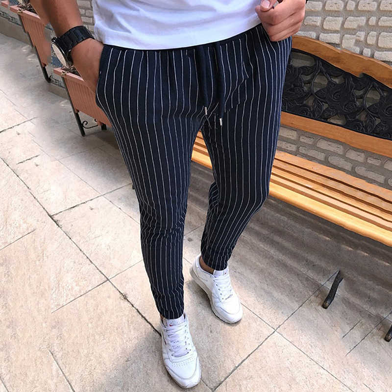 New Striped Pencil Pants Mens 2019 Casual Drawstring Trousers Male Street Fashion Breathable All-match Trousers