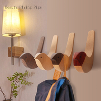 Creative wall hooks bird decoration Resin wood grain hooks bedroom door after animals Hooks 3D coat hook single wall hanger