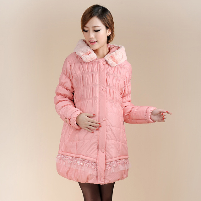 Maternity clothing winter wadded jacket thickening thermal fashion dress coat warm for pregnant women 1607