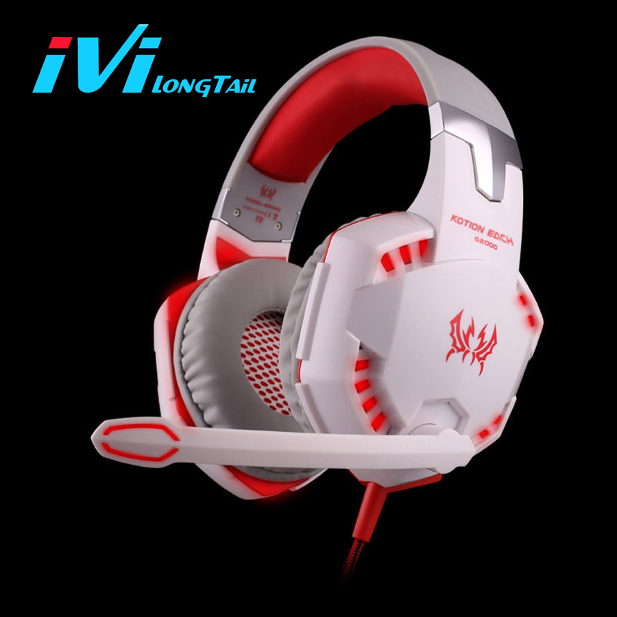 Gaming Headset G2000 Deep Bass Headphone Stereo Surrounded Over-Ear Headband Earphone with LED Light for PC LOL Game WOW DOTA led bass hd gaming headset mic stereo computer gamer over ear headband headphone noise cancelling with microphone for pc game