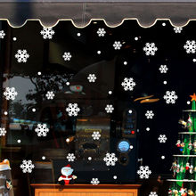 Home Showcase Christmas Snowflake Stickers Winter Glass Window Wall Stickers Kids Room Christmas Decor for Home New Year Sticker(China)