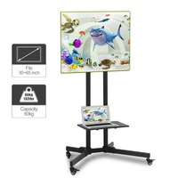 Mobile TV Adjustable Stand For 32 65 Inch Lcd Flat Panel Screen Floor Stand Mount With Computer Support Holder