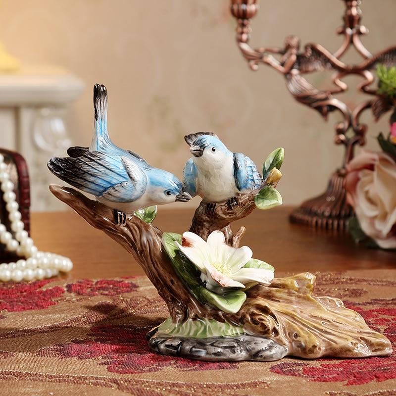 Creative handmade ceramic bird figurine decorative home for Bird decorations for home