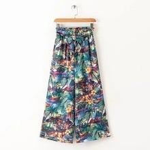 trendy elastic waist floral print wide leg pants for women Holiday Beach Design Print Wide Leg Pants Elastic Waist Fashion Bohemian Women Palazzo Pants 2019