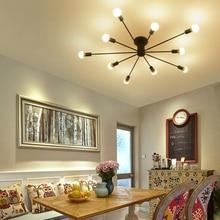 Barra de hierro forjado 10 cabezas Múltiples cúpula techo lámpara personalidad creativa nostalgia retro cafe bar luz de techo E27 bombilla