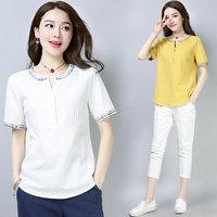 Summer T shirt Women Casual Tees Loose Tee Shirts Plus Size Tshirt Women Short Sleeve Top Cotton And Linen Loose T shirts