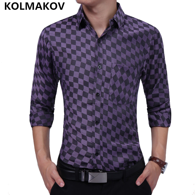 2018 Hot Sale Autumn Smart Casual Long Sleeve Shirts Mens shirt Plaid 100% Cotton Man So ...