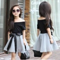 2016 Girls T-shirt with A Word Collar Short Skirts 2 Sets of Strapless Short-sleeved Dress TUTU Suit Children's Clothing Summer