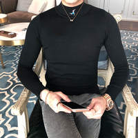 Male Fashion Casual Black White Jumper Knitting Mens Sweaters Men Slim Fit Embroidered Long Sleeve Pullover Sweater