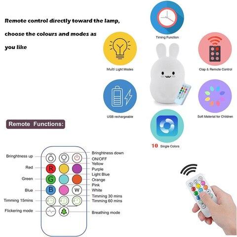 lampada 9 cores usb recarregavel sensor de