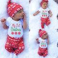 Natal Do Bebê Meninas Tops Impressão Calças Legging Chapéu Xmas Outfit Set Roupas Romper