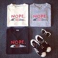 2015 verano nueva moda carta NOPE ocasional de la corto manga camisetas de mujeres