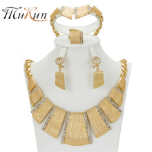 SHILU 2017 New Nobler Dubai Design Fashion Costume Crystal Necklace Earring Fine Gold Plated Jewelry Sets Gorgeous Shining