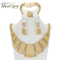 MUKUN 2017 Nowy Szlachetniejsze Projektowanie Mody Costume Naszyjnik Kryształ Kolczyk Drobne Dubai Dubai Złoty Kolor Zestawy Biżuterii Gorgeous Lśnienie