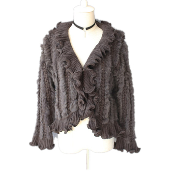 Autumn Winter Women's Real Genuine Knitted Rabbit Fur Cardigan Poncho  Wraps Lady  Capes Female Stole VF5018
