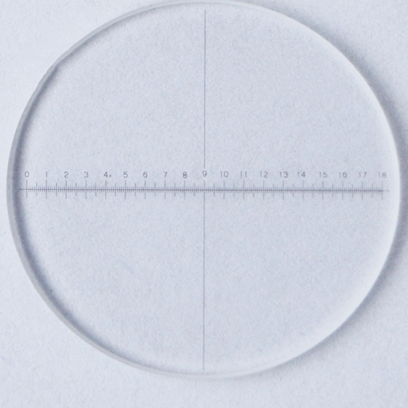 DIV = 0,1mm microscopio micrómetro Ocular diapositiva de calibración Ocular retícula línea Vertical regla Horizontal 1-18 diámetro 20 mm
