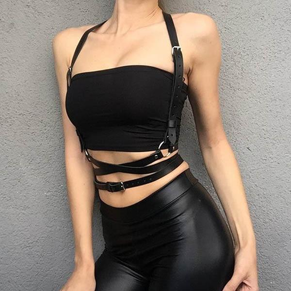UYEE Трендовое сексуальное женское белье ремень Регулируемый кожаный подвязка для женщин эротический пояс для тела подтяжки жгут LB-007 - Цвет: LB-007-B
