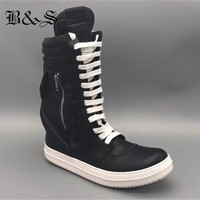 Black& Street Full Genuine Leather Punk Classical Rock Boots T show Catwalk Fashion Hip Hop side pocket High Boots