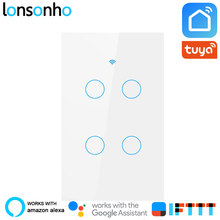 Lonsonho US Wifi Smart Switch 4 Gang  Life Tuya APP Wall Touch Light Works With Alexa Google Home Mini IFTTT