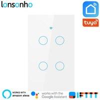 Lonsonho US Wifi Smart Switch 4 Gang Smart Life Tuya APP Smart Wall Touch Light Switch Works With Alexa Google Home Mini IFTTT
