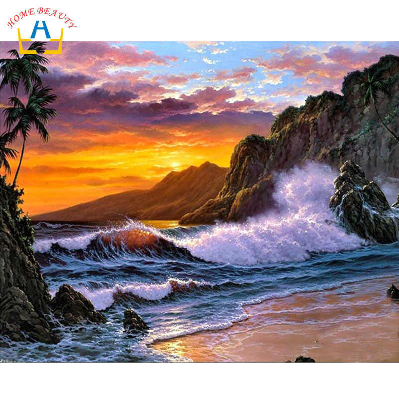 Diy pictures by numbers Modular canvas oil painting for living room sea sunset coloring by number hand painted wall art Y120