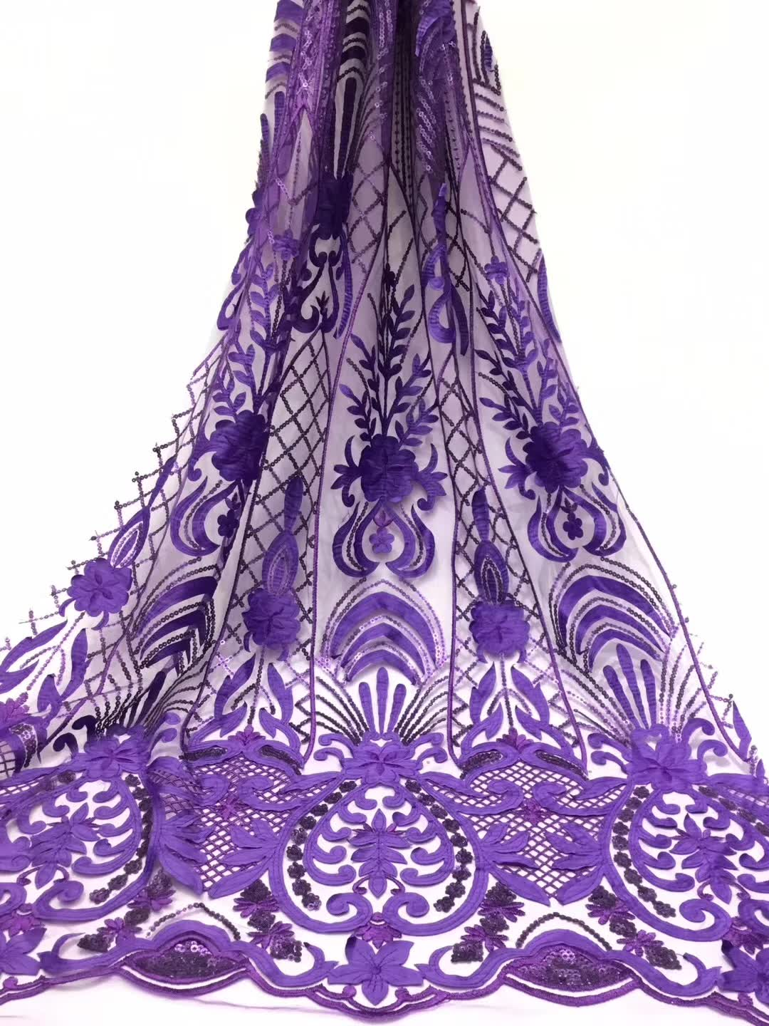2019 Latest French Nigerian Laces Fabrics High Quality Sequins Tulle African Laces Fabric Wedding French Tulle Lace purple2019 Latest French Nigerian Laces Fabrics High Quality Sequins Tulle African Laces Fabric Wedding French Tulle Lace purple