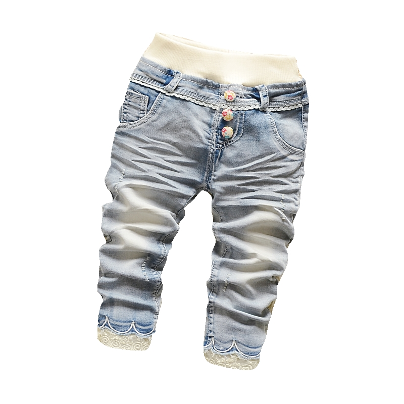 Children Girl Full Length Lace Decor Jean Pants Straight Leg Elastic Waist With Ball Button Trousers