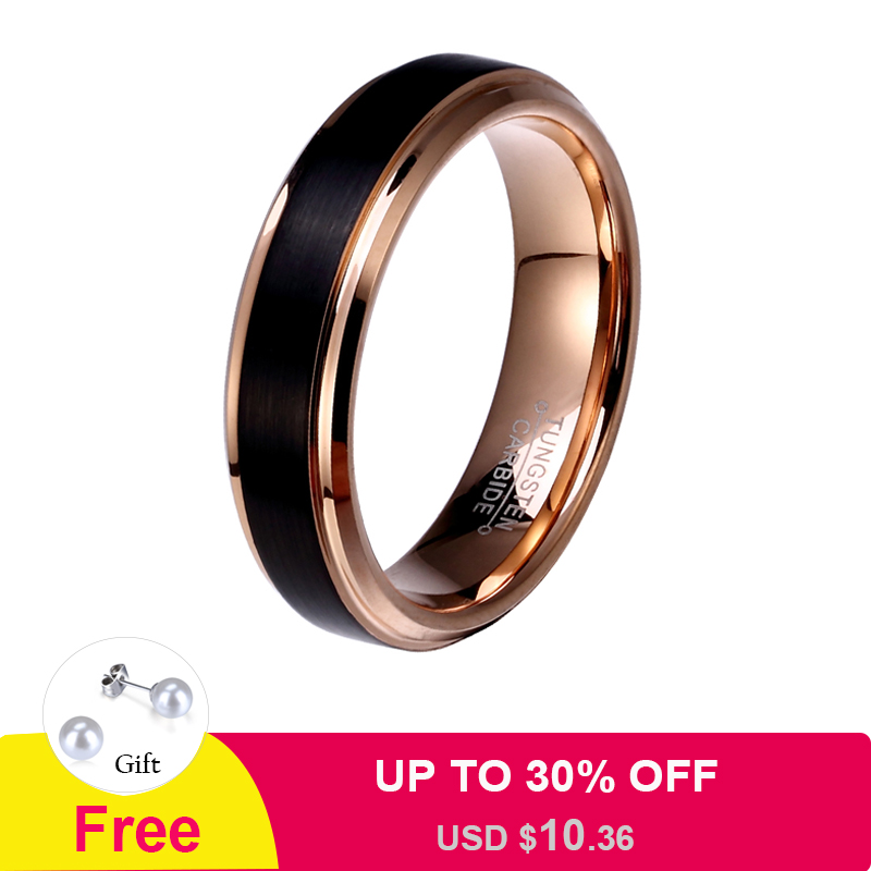 цены 8mm/6mm/4mm Black & Rose Gold Men's Tungsten Carbide Wedding Band for Boy and Girl Friendship Ring Russian Women Cool Jewelry
