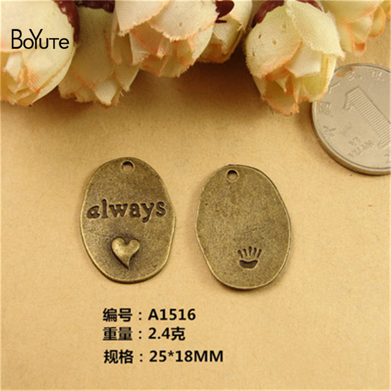 BoYuTe (60 Pieces/Lot) 25*18MM Antique Bronze Plated Zinc Alloy Heart Word Plated Charms Pendants for Jewelry Findings Diy