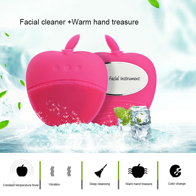 Christmas gift Mini electric silicone cleanser facial vibrator massage relaxation cleaner Heart shaped warm hands cleaning brush deep face cleansing brush facial cleanser 2 speeds electric face wash machine