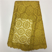 Latest Nigerian French Net Lace Fabric Embroidered High Quality African Lace Fabric 2017 Yellow Cord Lace