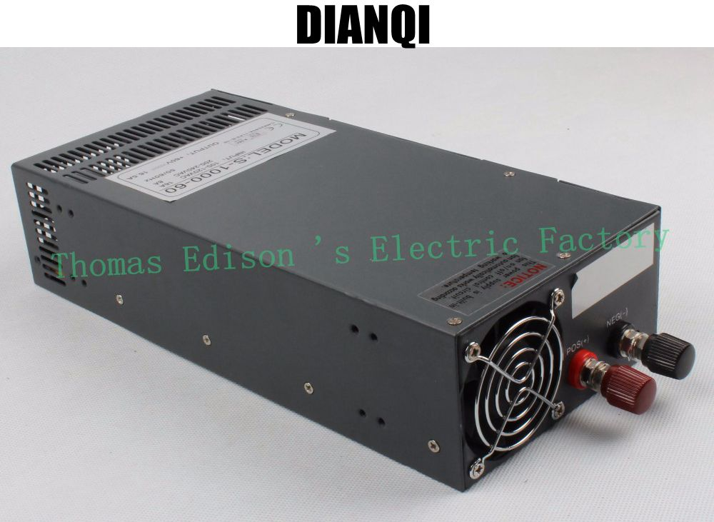Switching power supply 1000W 60V 16a AC to DC input 110v or 220v select by switch 1000w ac to dc power supply ac dc ac dc for those about to rock we salute you lp