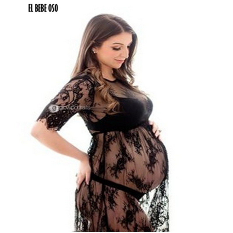 EL BEBE OSO Maternity Photography Props Fancy Dresses Summer Beach Pregnant Women Lace Dress Maternity Photo Shooting Clothes