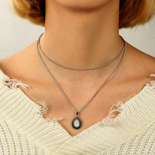 Tocona Bohemian Water Drop Crystal Charm Chokers Necklaces for Women Silver Alloy Chain Chokers Collar Statement Jewelry 4835