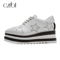 CZRBT Women Shoes High Quality Cow Leather Platform Shoes Spring Autumn Genuine Leather Lace U Flat