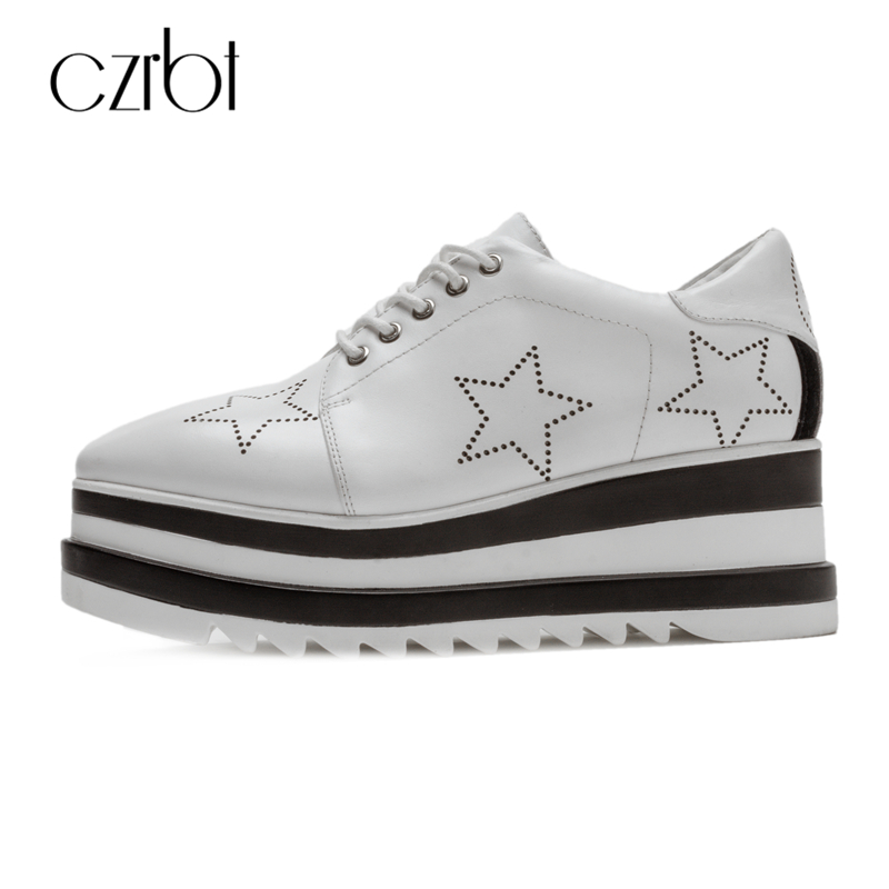 CZRBT Women Shoes High Quality Cow Leather Platform Shoes Spring Autumn Genuine Leather Lace-U Flat Shoes Women Casual Shoes genuine cow leather spring shoes wedges soft outsole womens casual platform shoes high heel round toe handmade shoes for women