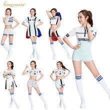 SONGYUEXIA Cheerleading Bar Pakaian untuk Girls Dance Dress Cheerleaders Dance Wear untuk Wanita Stage Dance Skirt