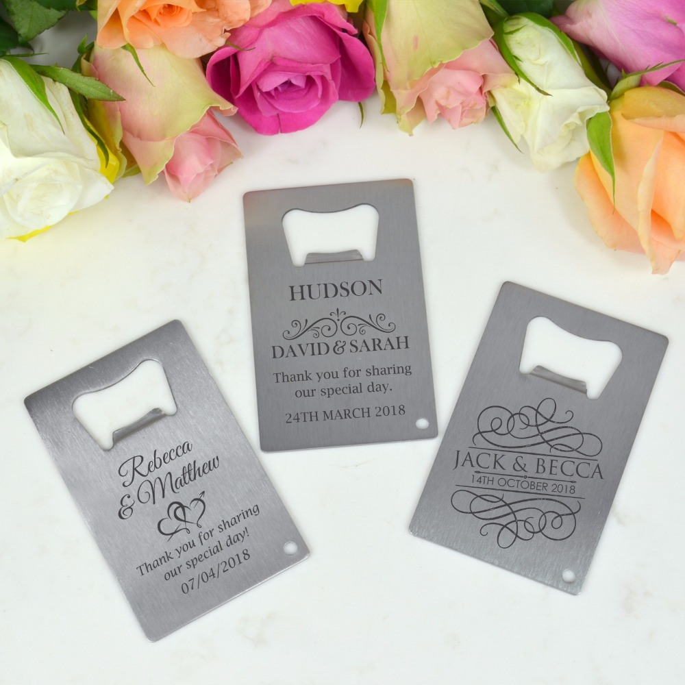 Personalised Wedding Favour Bomboniere Credit Card Bottle Opener ...