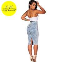 BiSHE 2017 High Waist Long Denim Skirts For Women Snow Wash Slim Sexy Jean Skirt Female