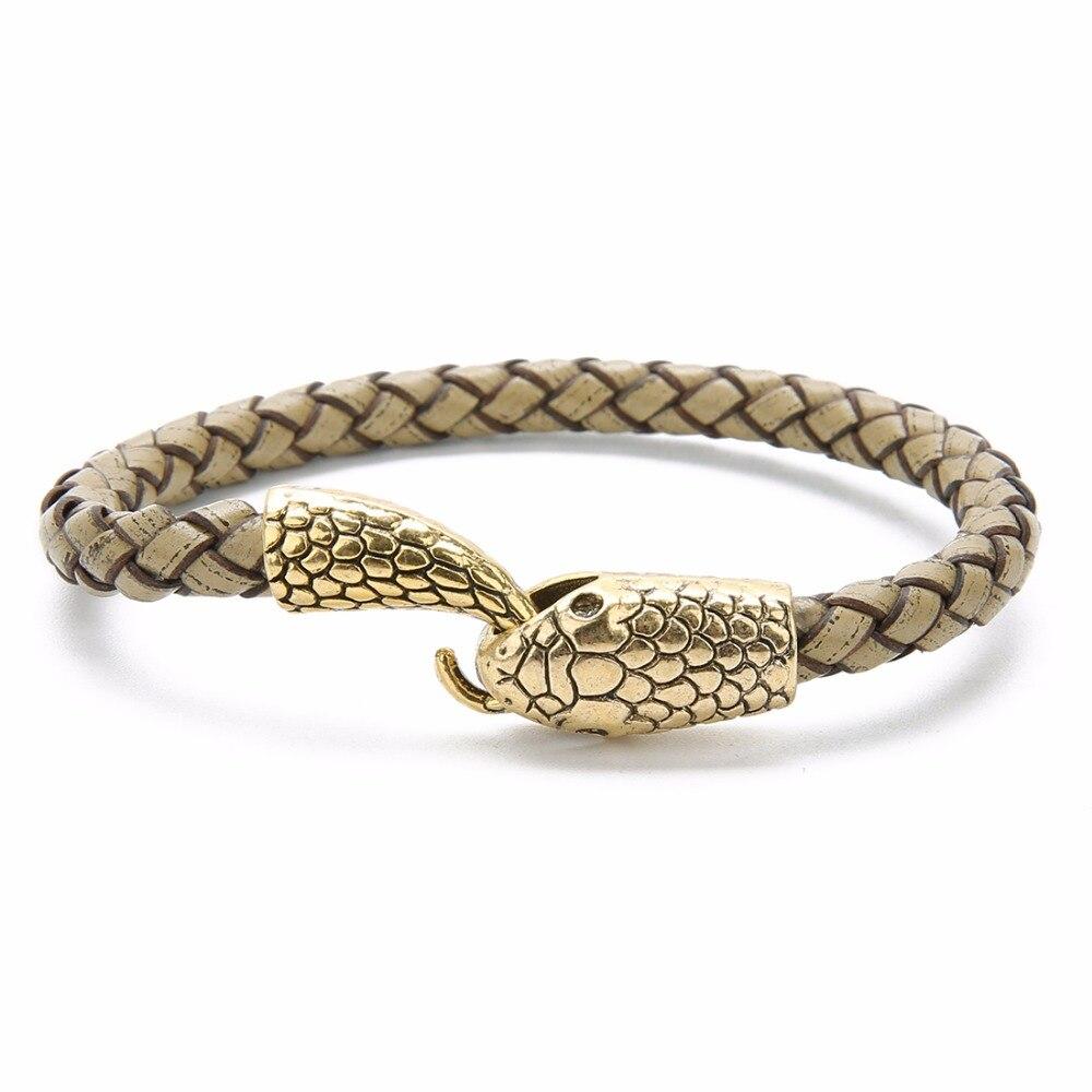 Bracelet cuir tressé  serpent  6